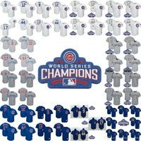 Men blue cubs - New Arrival Chicago Cubs Kris Bryant Anthony Rizzo Baseball Jersey Javier Baez Kyle Schwarber Jerseys World Series Patches
