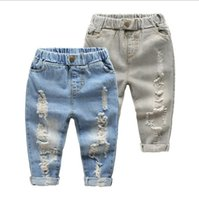 Wholesale Korean Kids Pants For Boy - Boys Jeans for Kids Pants 2017 Summer Autumn Trouser Denim Korean Fashion Hole Boys Pants DR-124
