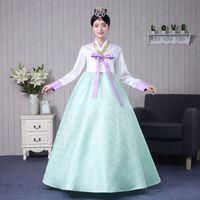 ingrosso gonne lunghe di danza bianca-Brand New 2017 White Jacket Purple Bow Green Gonne Manica lunga tradizionale coreano Hanbok Costume da ballo di scena vestito lungo da donna