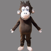 Wholesale Gorilla Adult Costume Mascot - Brown Monkey Adult Size Mascot Gorilla Costume Fancy Birthday Party Dress Halloween Carnivals Costumes With High Quality Free Shipping