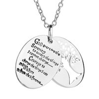 Wholesale Prayer Charm Pendant - Hand Stamped English Bible Serenity Prayer Charm Pendant Necklace Women Men Prayer Jewelry Tree Of Life Charms Necklaces
