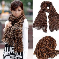 Wholesale Scarf Large Long - Wholesale- Women Fashion Sexy Leopard Long Large Scarves Georgette Gauz Wrap Scarf Shawl Freeshipping