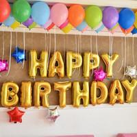 globos de aluminio felices al por mayor-13 Unids / set Astilla de Oro Letras del Alfabeto Globos Fiesta de Cumpleaños Feliz Decoración Juguetes Papel de Aluminio Membrana Ballon