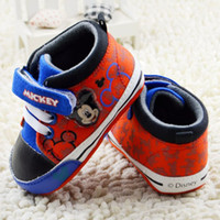 Wholesale Children Kid S Sport Shoes - Baby first walkers shoes baby sport cotton cartoon mickey shoes color red size 11-13cm 2017 kids s children shoes new style.