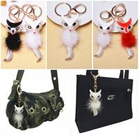 Wholesale Black White Keyrings - 2017 Multicolor Faux Fox Fur Pompom Keychain Fluffy Rabbit Ear Ball Key Chain Keyring Bag Charms Pendant Bunny Accessories C135L