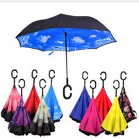 NEU Winddicht / UV Reverse Folding Double Layer Inverted Chuva Umbrella Self Stand Inside Out Regenschutz C-Haken Hände Für Auto