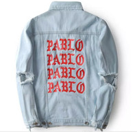 Wholesale pablo clothes resale online - album PABLO Coats Kanye West Pablo Denim Jackets Men Hip Hop Yeezus Tour Streetwear Jeans Jackets I Feel Like Kanye Clothing