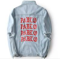 casacos de jean venda por atacado-álbum PABLO Casacos Kanye West Pablo Denim Jaquetas Homens Hip Hop Yeezus Turnê Streetwear Jeans Casacos Me Sinto Como Kanye Vestuário