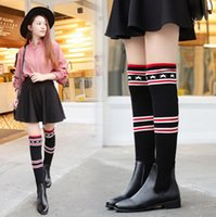 Faddish Knitting Sweater NUEVO Slim Sexy Lady Mujer Graceful Winter High Over The Knee Bottine Jackboots Low Heel Knight Botas Zapatos de arranque