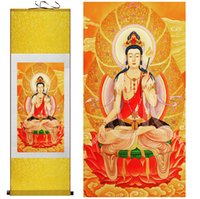 Wholesale silk scrolls for sale - Group buy Religion Traditional art Portrait painting Home Office Decoration traditional Avalokitesvara Silk Wall Art Scroll Hang Painting
