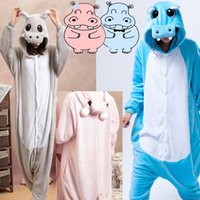 Wholesale Grey Hippo Costume - dult christmas pajamas HKSNG Blue Grey Gray Pink Hippo Animal Footed Unisex Adult Christmas Party Pajamas Flannel Pyjamas Onesies Cosplay...