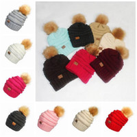 Wholesale Pom Pompom - CC Pom Pom Skullies Beanies Women Winter Cap Faux Fur Pompom Beanie Knitted Hats 17 Colors 20pcs OOA3385