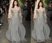 Wholesale Womens Maternity Wear - New Elie Saab Evening Dresses 2017 Sheer Long Sleeve Illusion Beaded Crystal Ellie Saab Evening Gowns Sexy Luxury Womens Dresses Celebrity