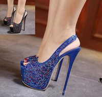 Wholesale Super Hot Platform High Heels - Elegant Sling Back Blue Satin Rhinestone Shoes hot sale Women Super High Heels Platform Peep Toe Pumps 2017 Size 35 To 40