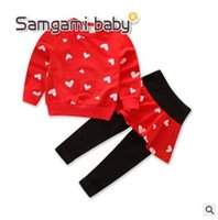 Wholesale Girl Coat Heart - Ins Kids Outfits for Baby Girls Clothing Sets Heart Printed Coat Pantskirt Outerwear FALL Long Sleeve Cotton 2 Piece Outfits Baby Clothes