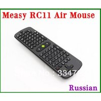 Wholesale Wireless Rc11 Air Mouse - Wholesale- [Genuine] Measy RC11 fly Air Mouse Keyboard Russian Version Gyro Handheld 2.4G Wireless Remote Control For Tv Box Tablet Mini PC