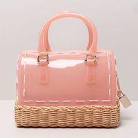 "Wholesale Silicon Basket - 22cm (8.66"") 2016 new Handmade Basket Design PVC Candy Color Jelly Bag Women Silicon Mini handbag Kids Pillow Bag Beach"
