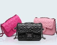 Wholesale camellia shoulder bags - Wholesale brand handbag classic small fragrant series of lovely Camellia woman embossed leather shoulder bag womens fashion leather shoulder