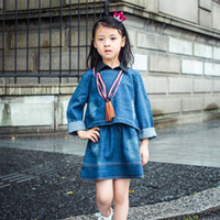 estilo coreano vestido de chica al por mayor-2017 Niños Niñas Moda Corea Estilo Denim Vestido Losse Jeans Mid-Cuff solapa cuello Casual Cowboy Dress for Women Jeans Vestido de manga larga