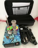 Wholesale Heater Oil - Portable E quartz nail pen rig oil wax PID TC box Ti titanium coil heater electric digital nail E quartz Titanium Nail kit silicone pad