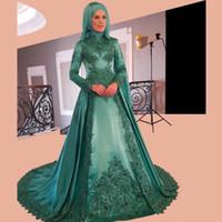 Wholesale Turkey Wears - 2018 New Saudi Arabic Long Sleeve Prom Dresses High Neck Lace Applique Satin A Line Women Turkey Evening Formal Wear Groom Mother's Gown