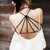 Wholesale Girls Lingerie Corset - Wholesale-Sexy Hot Lingerie Girl Women Summer Cool Beach Tank Vest Back Hollow Out Bralette Corset Soft Casual Top Strapless Black White