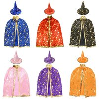 Хэллоуин Cap Prop Dress Kids Костюмы Дети Hat Robe Witch Wizard Плащ Платье и для Star Costume Party Decoration Christmas