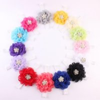Wholesale Shabby Kid - Vintage Flower Baby Girls Headband Shabby Rhinestone Lace Baby Girls Hair Accessory Birthday Flower Kids Headband
