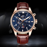 Wholesale Switzerland Watches Automatic - Wholesale- 2016 Luxury watch Men Automatic mechanical Watch Switzerland Carnival Famous Brand Watch Rose Gold Case Blue Dial Leather Strap