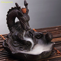 Dragon Coke Backflow Ceramic Burner Bruciatore di incenso cono Stick Holder Home Furnishing Articles