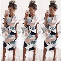 Wholesale Sexy Midi Dress For Sale - Fashion dress for women V-neck geometry of the printing pleated skirt 2017 fashion hot sale sexy soft belt beach dresses
