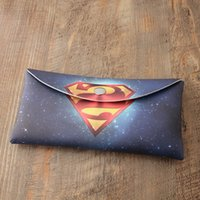 Wholesale Thin Big Cell Phones - Free shipping Superman Big Change hand bag European and American style Thin section Mobile phone bag printing Long section Card pack Student