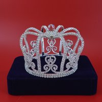 Wholesale imperial gold - Princess Crowns Tiaras Royal Imperial Headress For Woman Girls Bridal Wedding Hair Accessories Crystal Ball Silver Fashion Jewelry 02196