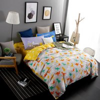 Wholesale Dinosaur Beds - Wholesale- New Design Jurassic Dinosaurs 4pcs Bedding Set Cartoon Home Textile Twin Full Queen King Size bedclothes bed Linen bed sheet