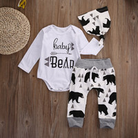 Wholesale Newborn Clothing Hats - Newborn BABY Clothes Kids Romper Suit Toddlers Clothing Set Long Sleeve Shirt Tops Rompers Legging Harem Pants Bear Hat White Outfit