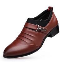 Wholesale Q Dress - Black Brown Business Casual Men Leather Shoes Fashion Slip-on Male Dress Shoes Hi-Q Gentleman Flat Shoes