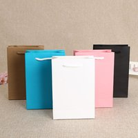 Wholesale White Kraft Paper Shopping Bags - Wedding Gift Bag 19X13X6cm Kraft Paper With Handle Birthday Party Christmas New Year Shopping Package Bags ZA3942