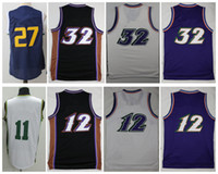 Wholesale Retro Shorts Men - Men Basketball Retro #32 Karl Malone #11 Exum #12 John Stockton #27 GOBERT Purple White Throwback Jerseys Short