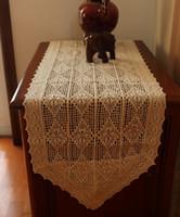 Wholesale crochet napkins - Wholesale- Cotton crochet lace tablecloth Vintage Rectangle cabinet napkins Beige hollow cover MetsTaple placemat Decoration &Accessories