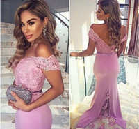 Wholesale Light Purple Lace - 2017 Light Purple Off Shoulder Bridesmaid Dresses For Wedding Lace Beaded Mermaid Formal Party Gowns With Buttons Maid Of Honor Dresses