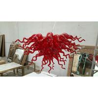 fiyat kırmızı kristaller toptan satış-Longree Ucuz Fiyat Mükemmel Kalite Kırmızı Cam Üfleme Avize LED Işık Modern El Üflemeli Murano Cam Kristal Avize