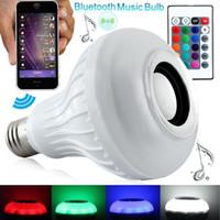 ingrosso led senza fili controllato remoto-Lampadina nuovo Wireless Bluetooth Speaker RGBW LED con telecomando RF di controllo della lampada wifi intelligente colore variabile lampada intelligente a LED E27