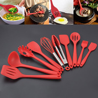 Wholesale Kitchenware Wholesalers - 10PCS Silicone Kitchenware Sets Not Sticky Pot Heat Resistant Shovel Spoon Eggbeater Food Clip Leak oil brush Scraper Cooking Tools WX9-05