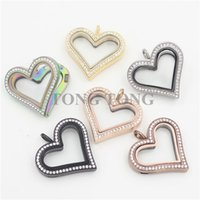 Wholesale Large Glass Lockets - Hot sale Large Heart Magnetic Stainless Steel Czech Crystals Floating Charm Locket Photo Locket (free matching plate)