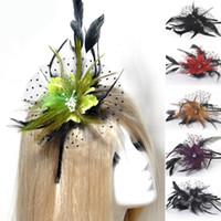 saç aksesuarları el yapımı dantel toptan satış-Toptan Moda El Yapımı Lady Kadınlar Fascinator Tüy Çiçek Saç Klip Şapkalar Dantel Düğün Aksesuarı Yarış 6 Renkler