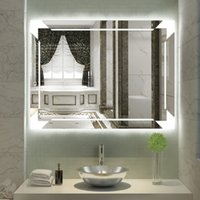 pulgadas horizontal led montado en la pared iluminado bao de tocador espejo plateado espejo cosmtico grande iluminado con toque de tope