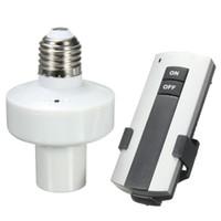support de lampe sans fil achat en gros de-Portable Smart Home support de lampe Durable E27 Vis Sans Fil Télécommande Lampe Ampoule Titulaire Cap Socket Switch New On Off AC185-265V
