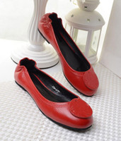Wholesale Dancing Cow - Slide Loafer Casual Dance Ballet Flats Color Red Cow Leather Genuine Leather Women Flat Shoes EU Sz 35-41