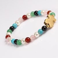 Wholesale Plastic Beaded Bracelets - TL Stainless Steel Bear Beaded Bracelet For Women 2 Colours Brand Jewelry High Quality Hand Make