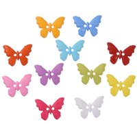 Wholesale Sewing Buttons 17mm - Hot sale 500 Pcs Plastic Mixed Color Butterfly Style Sewing Buttons 23*17mm Scrapbooking 2 Holes DIY Accessories